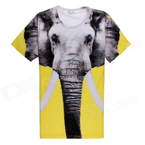 Men's Elephant 3D Printing Short Sleeves Cotton T-shirt - Yellow + Multi-Color (Size XL)