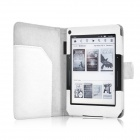 "Protective PU Leather Flip Case Cover for Amazon Kindle Voyage 6"" - White"