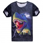 Men's Dinosaur 3D Printing Short Sleeves Cotton T-shirt - Black + Multi-Color (Size XXL)