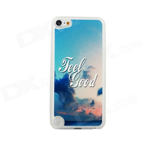 Ultra-thin Sea + Dark Clouds Pattern Protective PC Back Case for IPOD TOUCH 5 - White + Blue