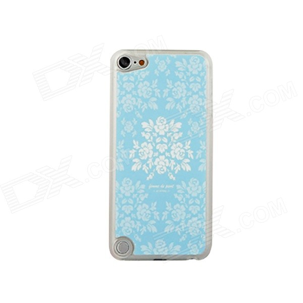 Ultra-thin Flowers Pattern Protective PC Back Case for IPOD TOUCH 5 - White + Blue