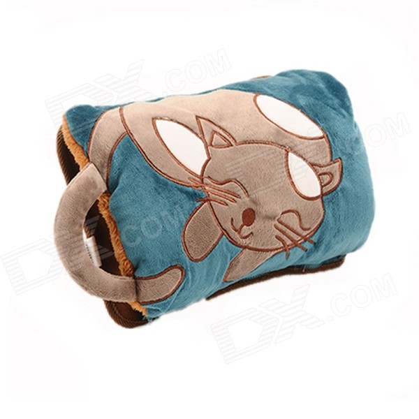 FA-70 Cartoon Cat Patterned Portable Detachable Hot Water Bag - Khaki + Blue lovely cartoon charging electric hot water bag environmental protection material safety explosion proof anti warm water bag