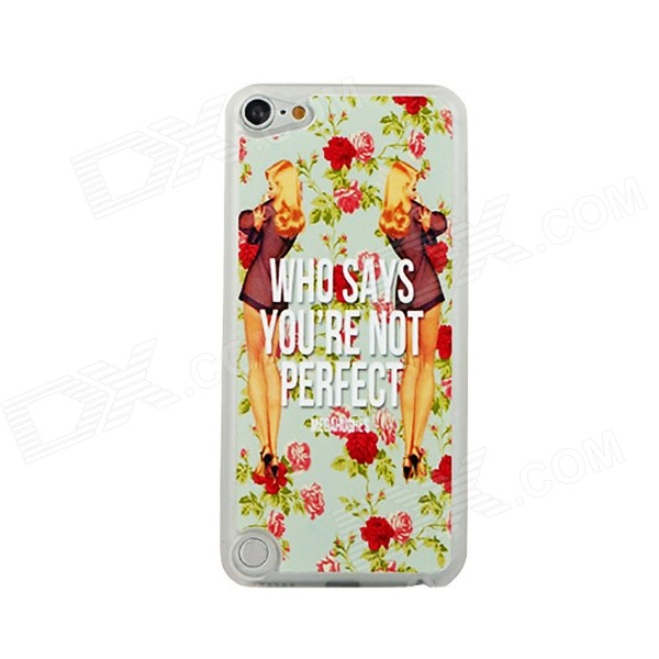 Ultra-thin Perfect Girl Pattern Protective PC Back Case for IPOD TOUCH 5 - White + Red + Multicolor