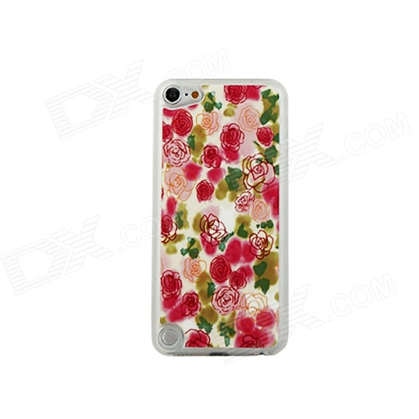Ultra-thin Painting Roses Pattern Protective PC Back Case for IPOD TOUCH 5 - Red + Multicolored