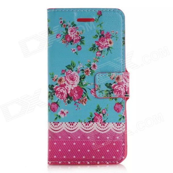 Flowers Pattern Protective PU + TPU Flip Open Case w/ Card Slots & Stand for IPHONE 6 PLUS stylish flip open pu tpu case w card slots for nokia 625 blue