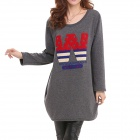Women's Casual Cartoon Pattern Round Neck Long Sleeved Thickened Warm T-shirt Top - Grey (XL)