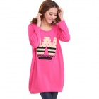 Women's Casual Cartoon Pattern Round Neck Long Sleeved Thickened Warm T-shirt Top - Deep Pink (L)