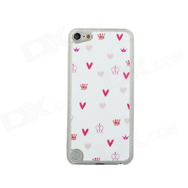 Ultra-thin Heart + Crowns Pattern Protective PC Back Case for IPOD TOUCH 5 - White + Red