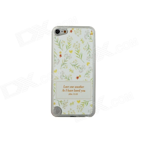 Ultra-thin Leaves Pattern Protective PC Back Case for IPOD TOUCH 5 - White + Yellow + Green