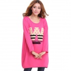 Women's Casual Cartoon Pattern Round Neck Long Sleeved Thickened Warm T-Shirt Top - Deep Pink (XL)