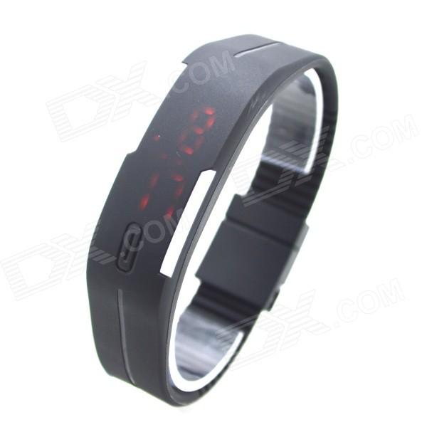 Fashionable Silicone Band Digital Quartz LED Display Wrist Watch - Black (1 x 626)