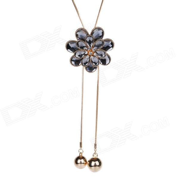 eQute Women's Fashionable Heronsbill Style Rhinestone Studded Pendant Necklace - Dark Grey rhinestone pendant chain necklace