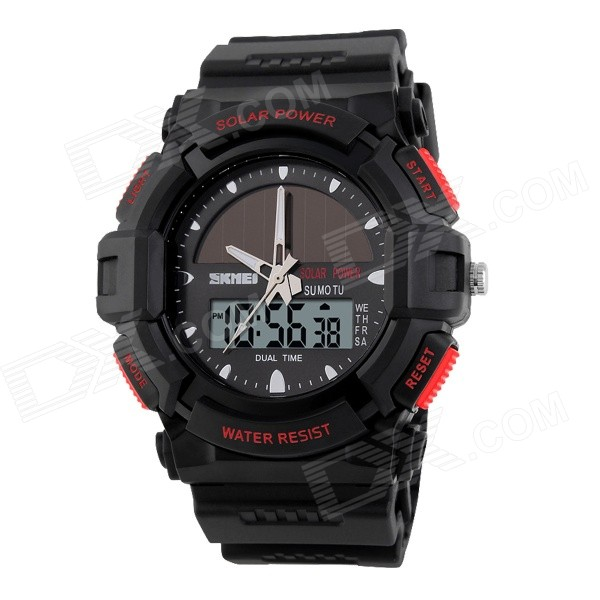 SKMEI Men's Solar Charging Dual Display Digital Sport Watch w/ Blue Backlight - Black + Red