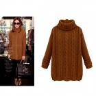 Women's Fashionable Casual Turtleneck Long Sleeves Knitted Sweater Pullover - Camel (Free Size)