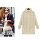 Women's Fashionable Casual Turtleneck Long Sleeves Knitted Sweater Pullover - Beige (Free Size)
