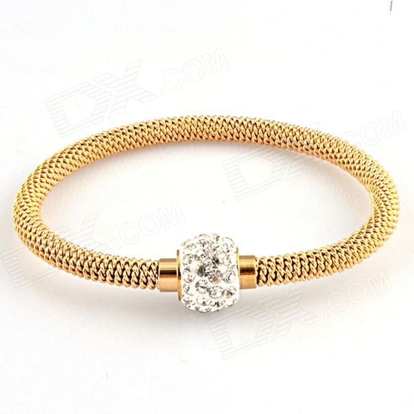 Women's Fashion Stainless Steel Chain Twine Rhinestone Inlaid Bracelet Bangle - Gold
