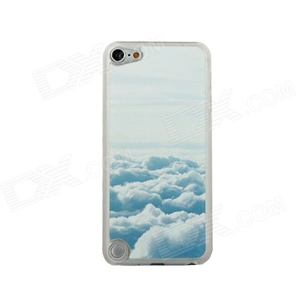 Ultra-thin Clouds Pattern Protective PC Back Case for IPOD TOUCH 5 - White + Blue