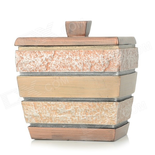 AJ142004 Artificial Stone Style Resin Cotton Swabs Jar Holder Storage Box - Gold + Copper resin assembly kits 1 9 200mm police girl 200mm unpainted kit resin model free shipping