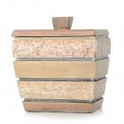 AJ142004 Artificial Stone Style Resin Cotton Swabs Jar Holder Storage Box - Gold + Copper