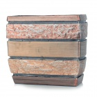 Artificial Stone Style Resin Bathroom Toothpaste Toothbrush Holder Storage Box - Gold + Copper