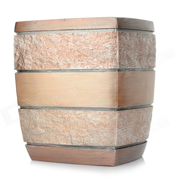 AJ141007 Keinotekoinen Stone Style Resin Ash Trash Can Garbage Bin - Gold + Copper