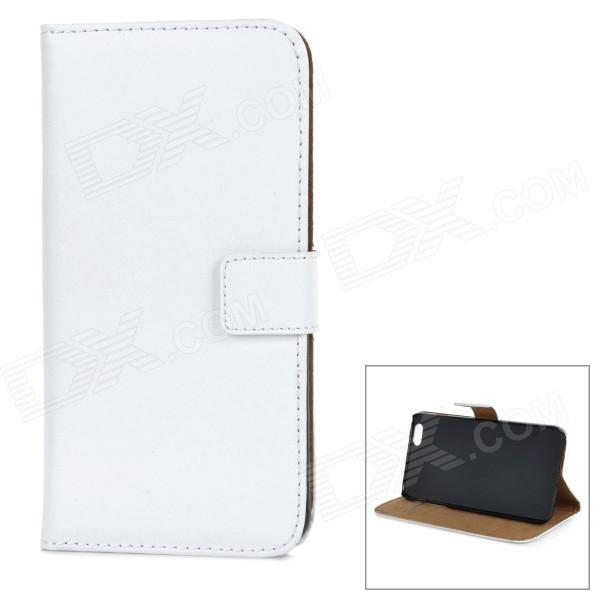 W-2 Classic Flip-open PU Leather Case w/ Holder for IPHONE 6 PLUS 5.5 - White high quality leather wallet style flip open case w card slots for iphone 6 plus brown