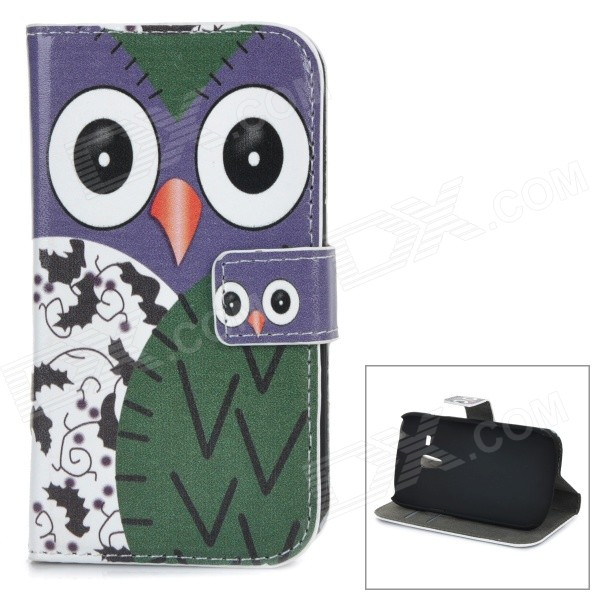 W-155 Cute Owl Pattern Flip-open PU Leather Case w/ Holder for Samsung Galaxy S3 Mini i8190 protective flip open pu case w stand card slots for samsung galaxy s3 mini i8190