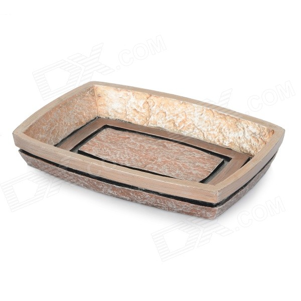 AJ142005 Artificial Stone Style Resin Bathroom Soap Dish Holder - Gold + Copper european style golden finish brass soap basket soap dish soap holder bathroom products bathroom furniture toilet vanity