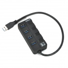 Super Speed ​​4-Port USB 3.0 Hub w / Switch / Indicadores individuais - Preto
