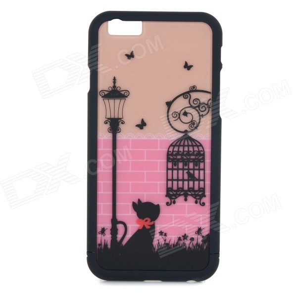Cartoon Birdcage & Cat Pattern Protective ABS Back Case for IPHONE 6 - Black + Pink + Multi-Color 3d cartoon cat kisses fish pattern protective abs back case for iphone 6 plus white green