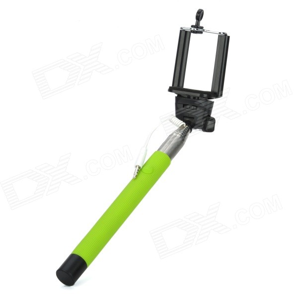 Handheld 7-Section Folding Selfie Monopod w/ 3.5mm Spring Cable / Phone Holder - Green + Black electrical pvc insulation adhesive tape red 1 8cm x 10m
