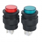 Self-Locking Button Switch w/ Indicator Light - Red + Green + Black (2pcs)