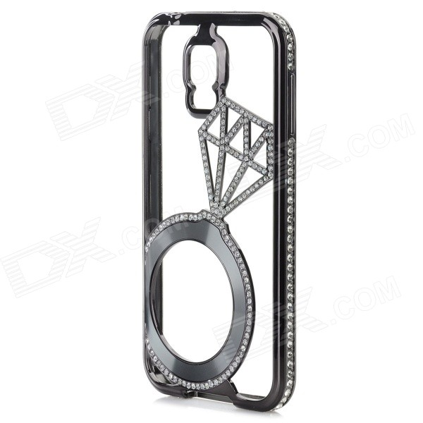 Luxurious Rhinestones Studded Bumper Frame Back Case for Samsung Galaxy S5 i9600 - Black