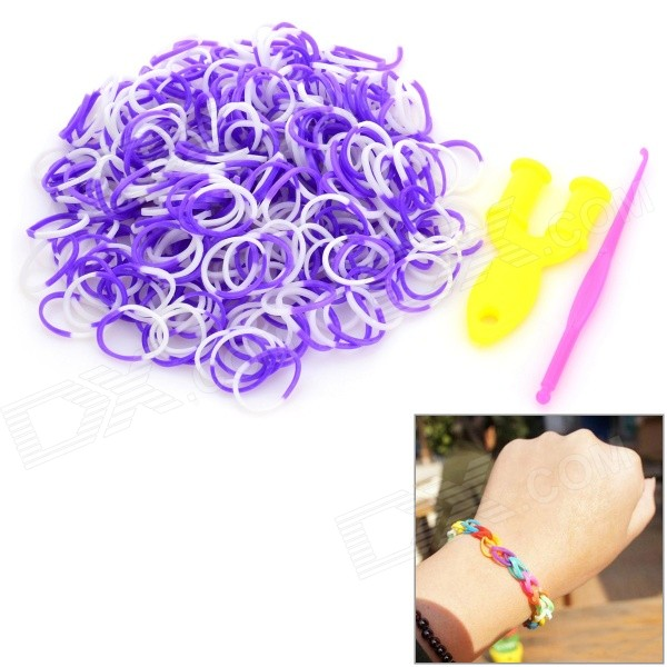DIY Educational Silicone Rubber Band Bracelet Set for Children - White + Purple (300 PCS) diy silicone rubber band bracelet purple transparent