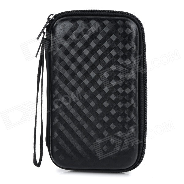 "Protective Anti-Shock Anti-Vibration Portable Plastic Zipper Bag w/ Strap for 2.5"" HDD - Black"
