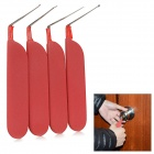 4-in-1 Anti-skid Matte Handle L-Shaped Stainless Steel Pin Car Lock Picks Tools Set - Silver + Red