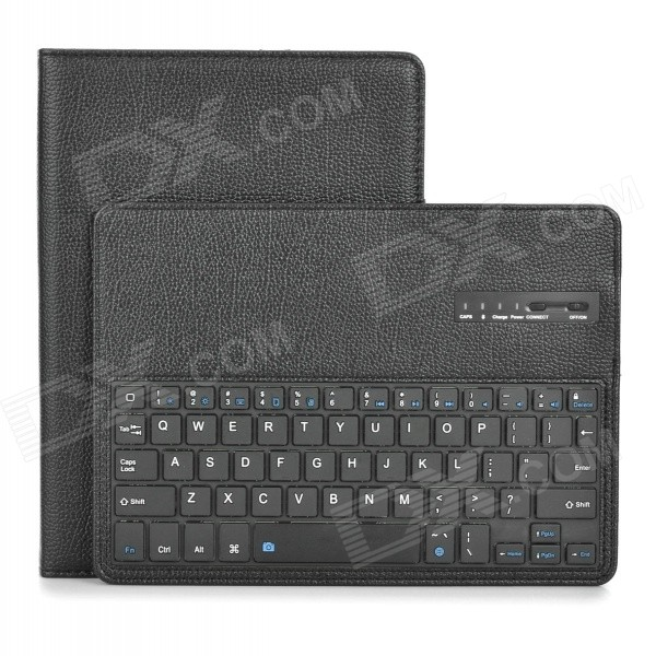 Detachable Bluetooth v3.0 64-Key Keyboard Case w/ Stand for IPAD AIR 2 - Black 84 key bluetooth v3 0 keyboard w detachable pu case for ipad air green