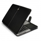 "Protective PU Leather Flip Open Case for Macbook Air 13.3"" Laptop - Black"