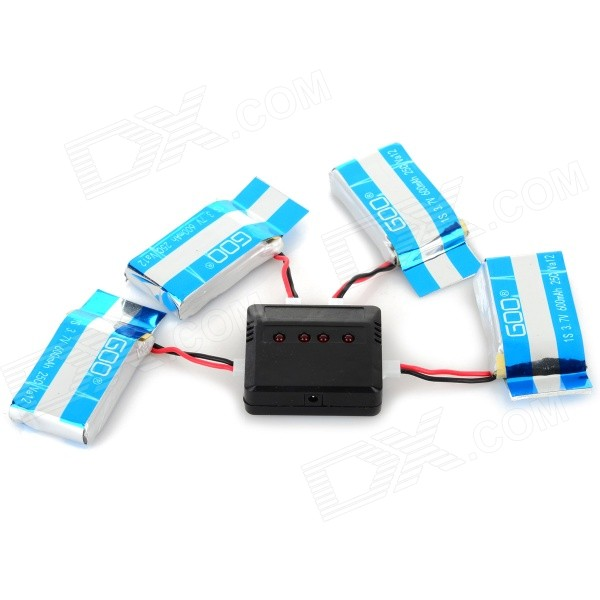 X4-007 1-to-4 Balanced Charger + 4 x 3.7V 600mAh Li-po Battery Set for Syma X5C / X5 - Black + Blue