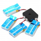 X4-008 1-to-4 Balanced Charger + 4 x 3.7V 720mAh Li-po Battery Set for WLtoys V931 - Black + Blue