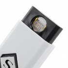YC02 Windproof USB Rechargeable Cigarette Lighter - White + Black