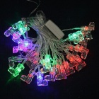 15W 500lm 28-LED RGB Christmas Shoe Style Decorative String Light - White (4M / 220V)
