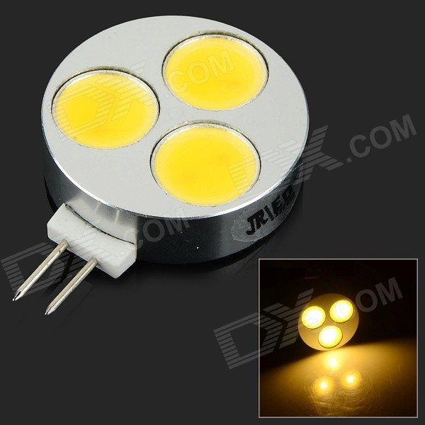 JRLED G4 6W 400lm 3300K 9-COB LED Hot White Mini Spotlight-Argent + Noir (DC 12 ~ 14V)