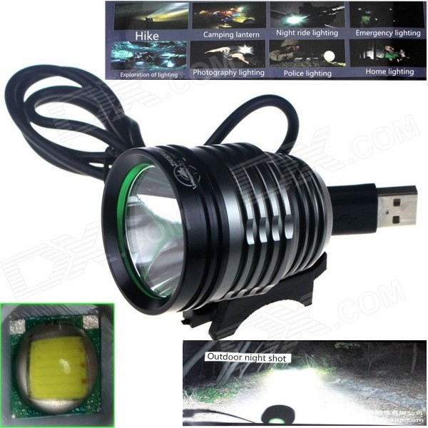 ZHISHUNJIA ZSJ-5VT6 780lm 3-Mode 3-LED White Light 5V Mobile Power USB Bike Headlamp - Black + Grey