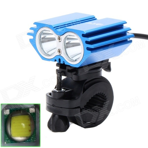 ZHISHUNJIA ZSJ360-X2 1600lm 4-Mode White 2-LED Bicycle Lamp w/ Bike Mount - Blue (4 x 18650)