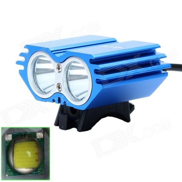 ZHISHUNJIA ZSJ-X2 1600lm 4-Mode White 2-LED Bicycle Light - Blue (4 x 18650)