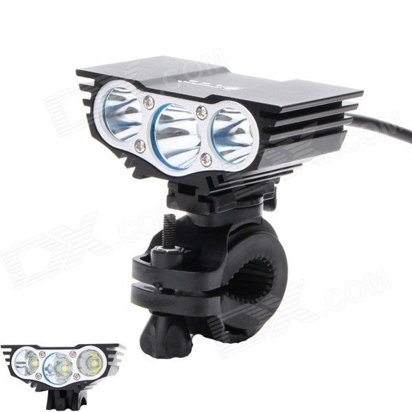 ZHISHUNJIA ZSJ360-X3 2000lm 4-Mode White 3-LED Bicycle Light w/ Bike Mount - Black (6 x 18650)