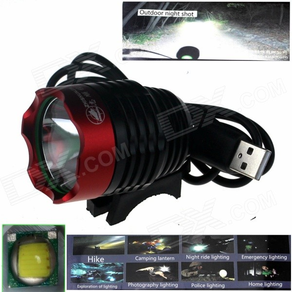ZHISHUNJIA ZSJ-5VT6 780lm 3-Mode LED White Light 5V Mobile Power USB Bike Headlamp - Black + Red