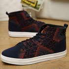 NT00544-16 Heren Modieuze Casual Nubuck Leather Hoge Schoenen Sneaker - Dark Blue (43)
