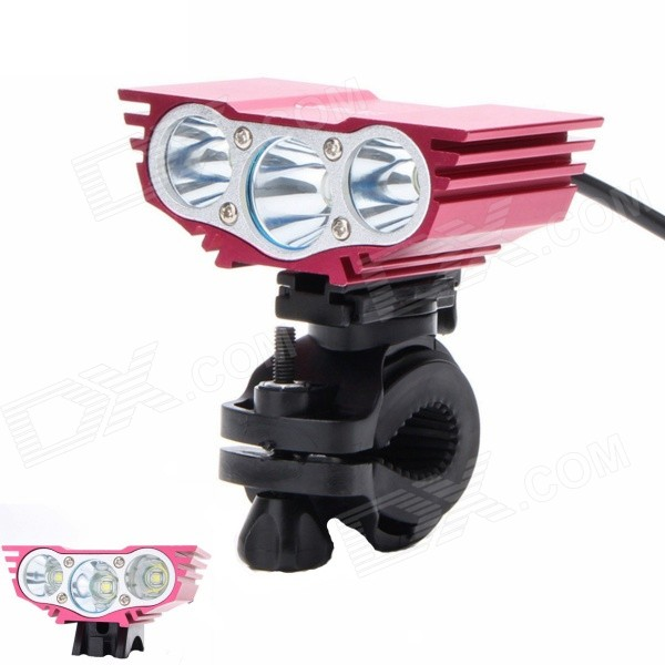 ZHISHUNJIA ZSJ360-X3 2000lm 4-Mode White 3-LED Bicycle Lamp w/ Bike Mount - Red (6 x 18650)Bike Lights<br>Form ColorRedModelZSJ360-X3Quantity1 DX.PCM.Model.AttributeModel.UnitMaterialAluminum alloyEmitter BrandCreeLED TypeXM-L2Emitter BINT6Number of Emitters3Color BINNeutral WhiteWorking Voltage   8.4 DX.PCM.Model.AttributeModel.UnitPower Supply6 x 18650 (included)Current4~6 DX.PCM.Model.AttributeModel.UnitTheoretical Lumens2400 DX.PCM.Model.AttributeModel.UnitActual Lumens2000 DX.PCM.Model.AttributeModel.UnitRuntime3 DX.PCM.Model.AttributeModel.UnitNumber of Modes4Mode ArrangementHi,Mid,Low,Fast StrobeMode MemoryNoSwitch TypeForward clickyLensGlassReflectorAluminum SmoothFlashlight MountingHandlebar and HelmetSwitch LocationTailcapBeam Range200 DX.PCM.Model.AttributeModel.UnitBike Lamp Interface Size3.5mmBattery Pack Interface Size3.5mmOther FeaturesSwitch with electric quantity display mode<br>The vehicle clamp can rotate 360 degreesPacking List1 x Bike light (90cm-cable)2 x Rubber rings1 x 8.4V 8800mAh Battery Pack (37cm)1 x US Plug Charger (100V-240V, 90cm)1 x Bicycle mount<br>